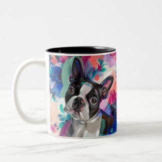 Boston Terrier Art Mug   turquoise