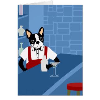 Boston Terrier Bartender Card