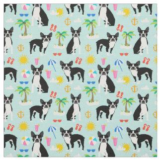 Boston Terrier Beach Fabric - summer dog fabric