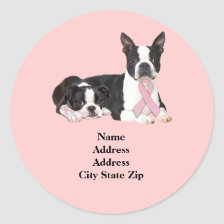 Boston Terrier Breast Cancer Address Label