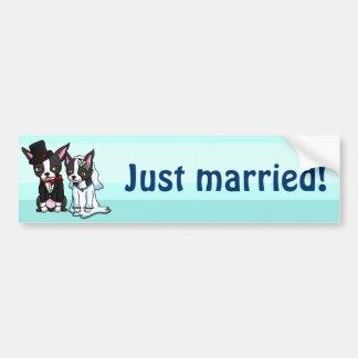 Boston Terrier Bride and Groom Bumper Sticker