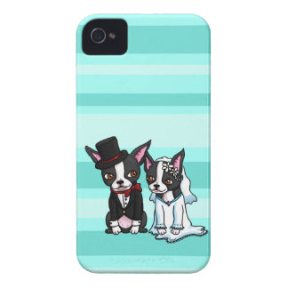 Boston Terrier Bride and Groom iPhone 4 Case-Mate Case