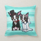 Boston Terrier Bride and Groom Cushion