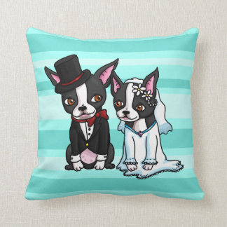 Boston Terrier Bride and Groom Cushion