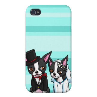 Boston Terrier Bride and Groom iPhone 4 Cases