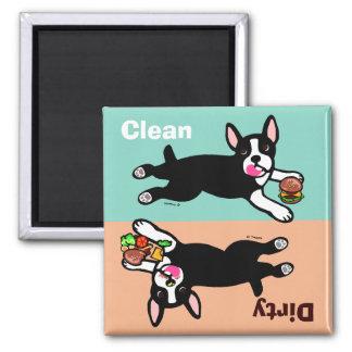 Boston Terrier Cartoon Dirty / Clean Square Magnet