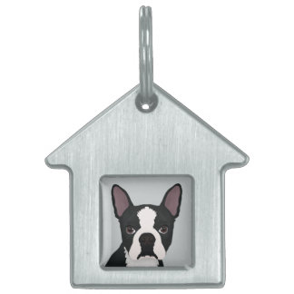 boston terrier cartoon pet ID tags