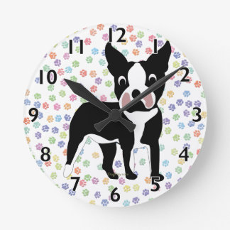 Boston Terrier Cartoon Round Clock