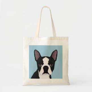 boston terrier cartoon tote bag
