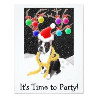 Boston Terrier Christmas 11 Cm X 14 Cm Invitation Card
