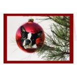 Boston Terrier Christmas Card Ball