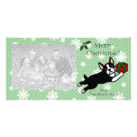 Boston Terrier Christmas Cartoon Photocards Personalized Photo Card