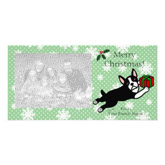 Boston Terrier Christmas Cartoon Photocards Photo Cards
