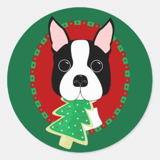 Boston Terrier Christmas Sticker