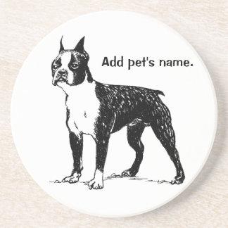 Boston Terrier Coaster with Pet's Name