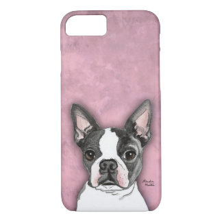 Boston Terrier cute dog cell phone case pink