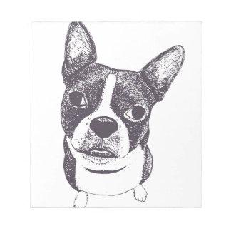 Boston Terrier Dog ARt by Carol Iyer Note Pad