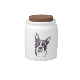 Boston Terrier Dog ARt by Carol Iyer Candy Jar