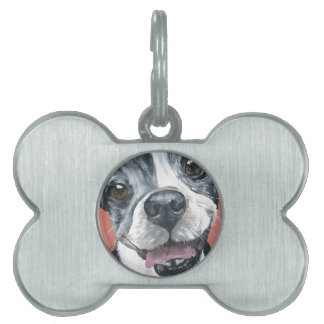 Boston Terrier Dog art Pet ID Tag