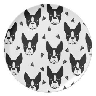 Boston Terrier Dog Black And White / Andrea Lauren Party Plates