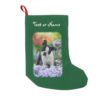 Boston Terrier Dog Cute Puppy Personalized Santa Small Christmas Stocking