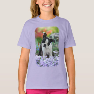 Boston Terrier Dog Cute Puppy Pet Portrait - girl T-Shirt