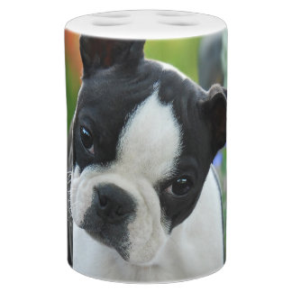 Boston Terrier Dog Cute Puppy Portrait Pet Photo Bathroom Set