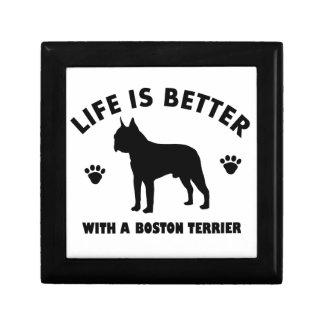 Boston terrier dog design small square gift box