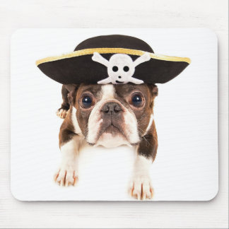 Boston Terrier Dog Dressed As A Pirate Mouse Pad