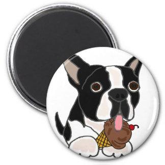 Boston Terrier dog Eating Ice Cream Magnet