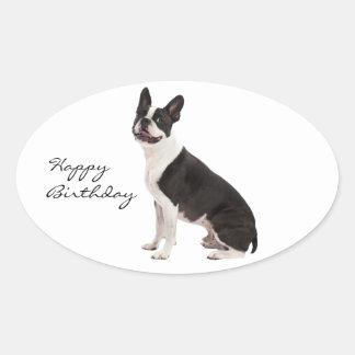 Boston Terrier dog happy birthday custom stickers