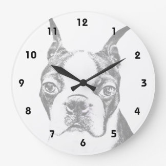 Boston Terrier dog Large Clock