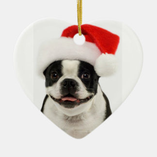 Boston Terrier Dog Santa Ornament