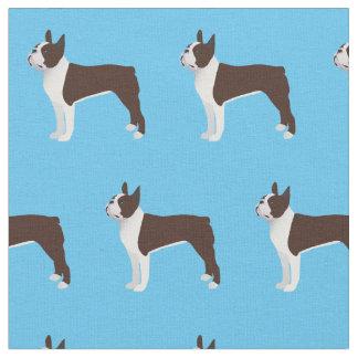 Boston Terrier Dog Silhouette Tiled Fabric