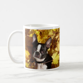 Boston Terrier Dog Surrounded by Autumn Leaves Mug