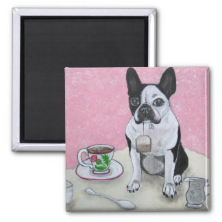 Boston Terrier Dog Tea Time Party Magnet