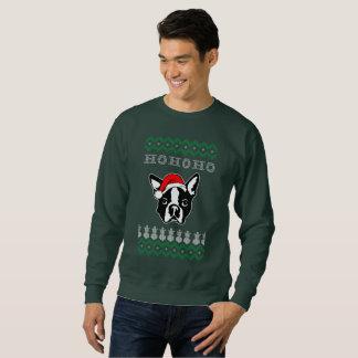 Boston Terrier Dog Ugly Christmas Ho Ho Ho Sweatshirt