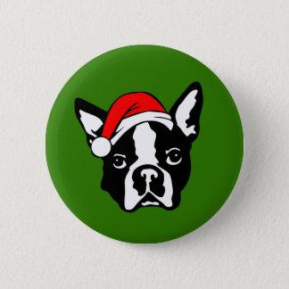 Boston Terrier Dog with Christmas Santa Hat 6 Cm Round Badge