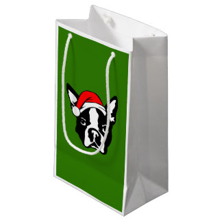 Boston Terrier Dog with Christmas Santa Hat Small Gift Bag