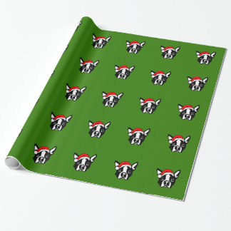 Boston Terrier Dog with Christmas Santa Hat Wrapping Paper