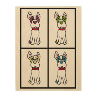 Boston Terrier Drawing Wood Wall Art