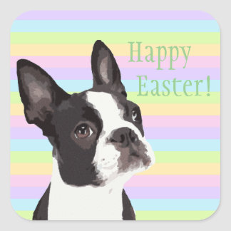 Boston Terrier Easter Wishes Pastel Stickers