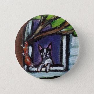 Boston Terrier eyes squirrel in tree dog painting 6 Cm Round Badge