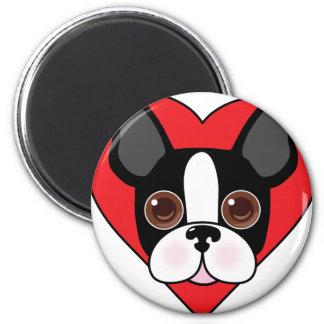 Boston Terrier Face 6 Cm Round Magnet