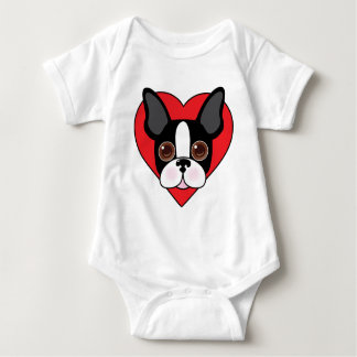 Boston Terrier Face Baby Bodysuit