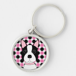 Boston Terrier Face Key Ring