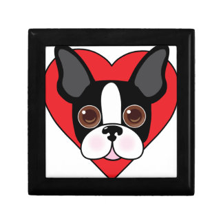 Boston Terrier Face Small Square Gift Box