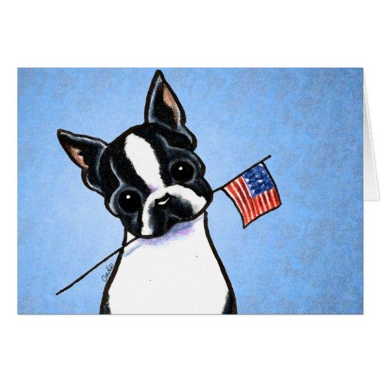 Boston Terrier Flag 4th of July Custom Card