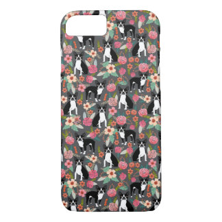 Boston Terrier Florals - dogs and flowers iPhone 8/7 Case