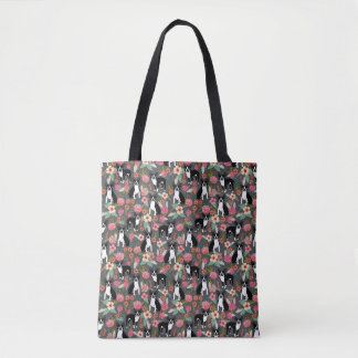 Boston Terrier Florals - dogs and flowers Tote Bag